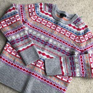 J Crew Fair Isle Wool Crew Sweater Small Grey